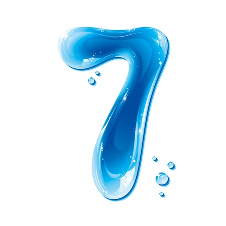 series: ABC series - Water Liquid Numbers -  Number Seven Illustration