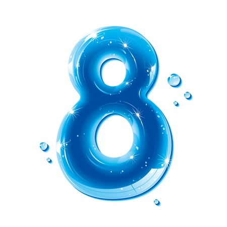 ABC series - Water Liquid Numbers - Number Eight Illustration