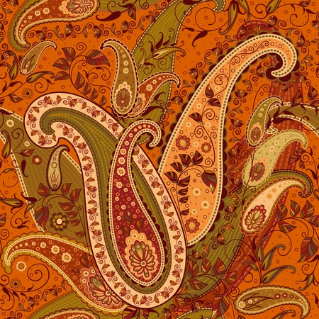 disegni cachemire: Seamless Elaborate Paisley Pattern, illustrazione vettoriale modificabile - EPS8