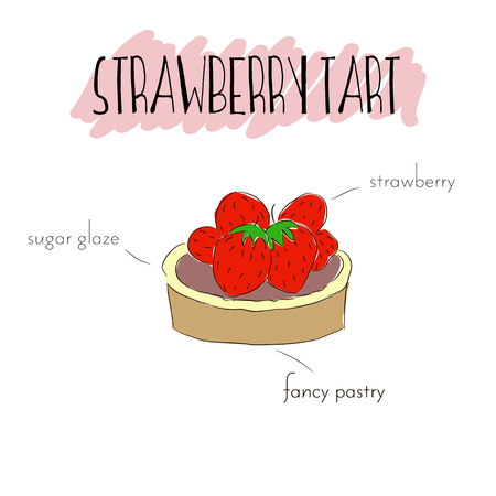 chocolate mousse: Strawberry tart with cream, fancy pastry and strawberry. Illustration