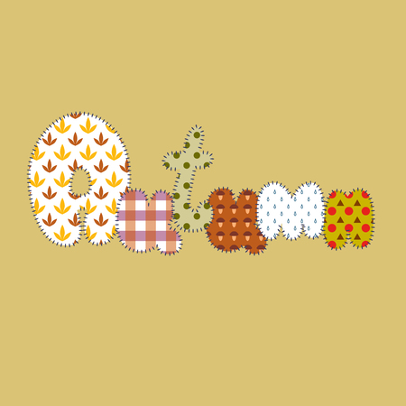 fresh colors: Hand drawn cartoon style stitched slogan Autumn made of patterns. Typical symbols: rain drops, mushrooms, leaves. Patchwork background in fresh colors.