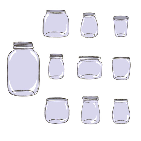 Set of silhouettes of mason jars, glass imitation. Different shapes of empty lids. Hand drawn doodle style vector illustration, white background. For Save the Date design or kitchen decor.