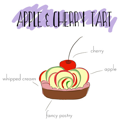 souffle: Apple and cherry tart with whipped cream, fancy pastry, cherry and apple slices. Vector hand drawn illustration. List of main ingredients of apple tart.  Unique isolated outline sweet dessert. For flayer, invitation, poster.