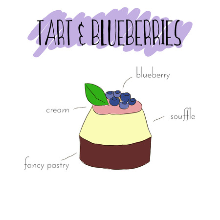 mousse: Blueberries tart with cream, mousse, fancy pastry and almond. Vector hand drawn isolated illustration. List of main ingredients of blueberry tart.  Unique outline sweet dessert. Good for flayer, invitation or poster.