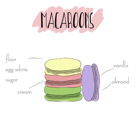 bisquit: Original french macaroons with cream. Various colors. Vector hand drawn isolated illustration. List of main ingredients of macaroon.  Unique outline french pastry. Good for flayer, invitation or poster.