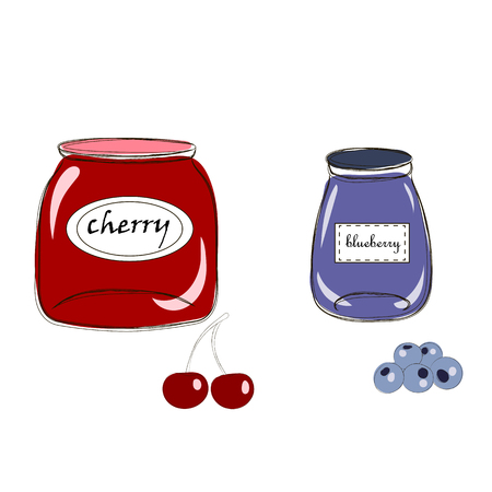 Hand drawn cartoon style jars with natural organic homemade cherry and blueberry jams. Cute labels. Vector sketch illustration, isolated on white background. Good for cards, kitchen decor and shop banners