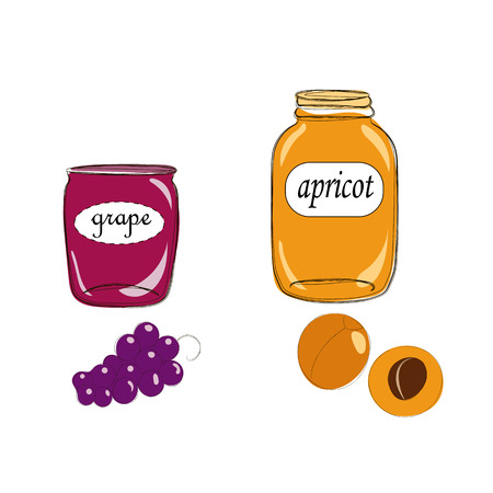 Hand drawn cartoon style jars with natural organic homemade grape and apricot jelly. Cute labels. Vector sketch illustration, isolated on white background. Good for flayer, banner, menu, invitation or blog.