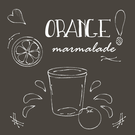 marmalade: Chalkboard with cartoon style jars with orange marmalade. Illustration and cute lettering. Unique vector sketch with elegant design elements. Hand drawn hipster set of sliced orange, arrows, wreath, embellishment. Illustration