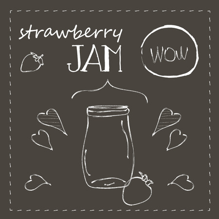 Naive cartoon style ball jar with strawberry jam, on chalkboard. Illustration and cute lettering. Unique vector sketch with elegant design elements. Hand drawn hipster set of strawberry, arrows, swirl, embellishment.