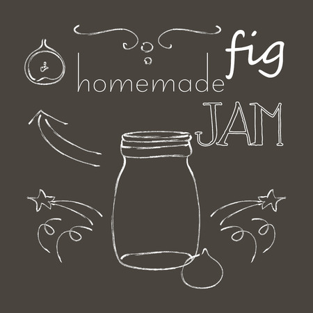 Naive cartoon style jar with fig jam, on chalkboard. Illustration and cute lettering. Unique vector sketch with elegant design elements. Hand drawn hipster set of fig, berries, arrows, stars, embellishment.