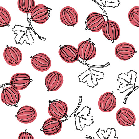 Gooseberry seamless vector pattern. Indian gooseberry Malacca tree, or gooseberry. Edible fruit. Good for backdrop, textile, wrapping paper, wall posters. Continuous line drawing. Vettoriali