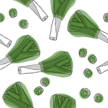 Fresh leek seamless pattern. Leek onion, vegetable background.
