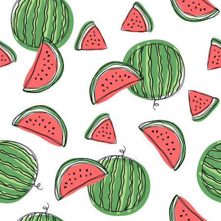 Watermelon slices seamless pattern. Hand draw vector illustration on isolated white background