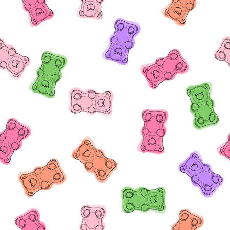 Gummy bears candies hand drawn seamless colorful pattern. Gummy bears candies background. Vector pattern.  イラスト・ベクター素材