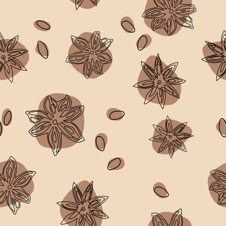 Star anise vector seamless pattern. Abstract pattern flat lay, top view. Ilustração