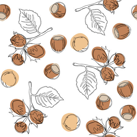 Hazelnuts vector seamless pattern. Good for ads, signboards, packaging, menu design, interior decorating and other design.