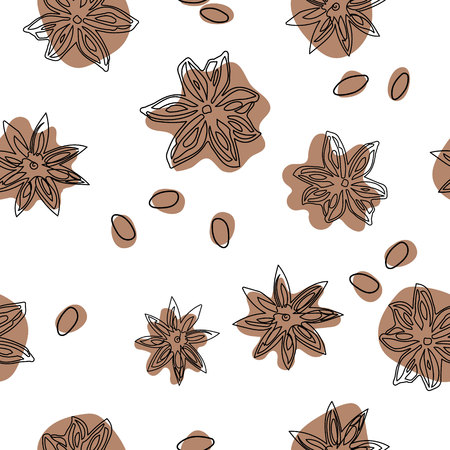 Star anise vector seamless pattern. Abstract pattern flat lay, top view. Illustration