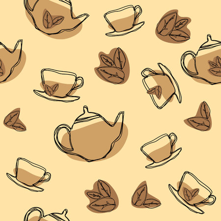 Black tea leaf, teapots and cups seamless pattern. Hand drawing vintage texture. Vector background.