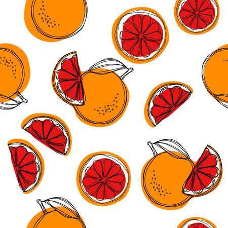 Sicilian blood oranges seamless pattern on white background. Red oranges. Vector background.