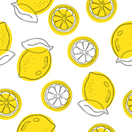 Seamless decorative background with yellow lemons. Lemon hand draw pattern. Vector background.