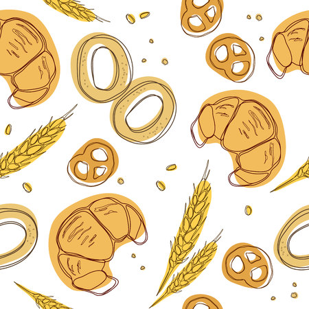 Croissant, bagels, ear, pretzels seamless pattern. Vintage food icons,s weet elements background for menu, cafe shop. Bakery background. Vector background.