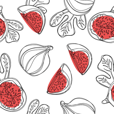 Fresh figs seamless pattern. Fruit with half and quarter isolated on white background. Vector.