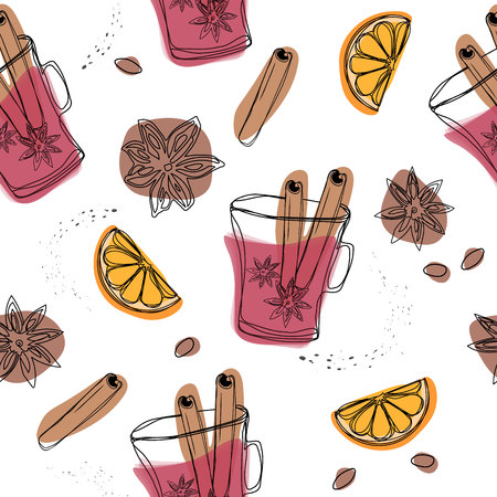 Christmas winter spice. Decorative vector seamless pattern with spices and ingredients for mulled wine. Orange, cranberry, cinnamon, star anise, cardamom and nutmeg on white background. 일러스트