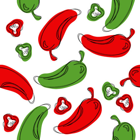 Seamless pattern green chilli pepper. Hand drawing chilli pepper. Vector illustration chilli pepper.