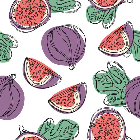 Seamless hand draw pattern with fresh fig fruit. Vector illustration on white isolated background 일러스트