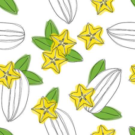 Carambola fruit sliced seamless pattern. Stylized colorful star fruit. Vector hand draw illustration.