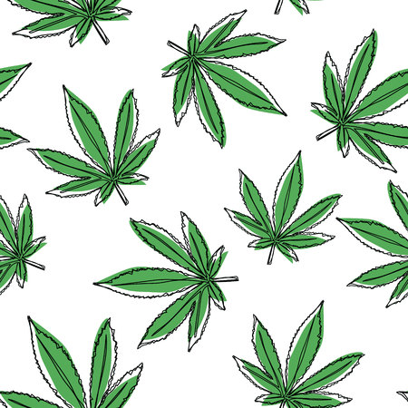 Vector marijuana leaves seamless pattern. Vector cannabis background.