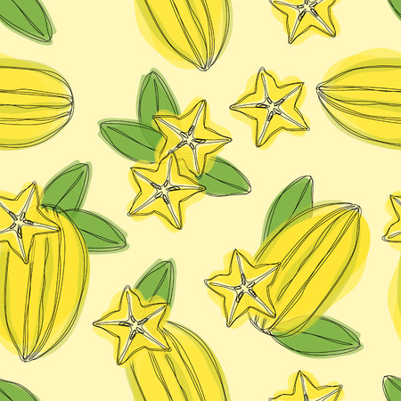 Hand draw seamless pettern with star fruit carambola on yellow background. Vector illustration of tropical plant. 일러스트