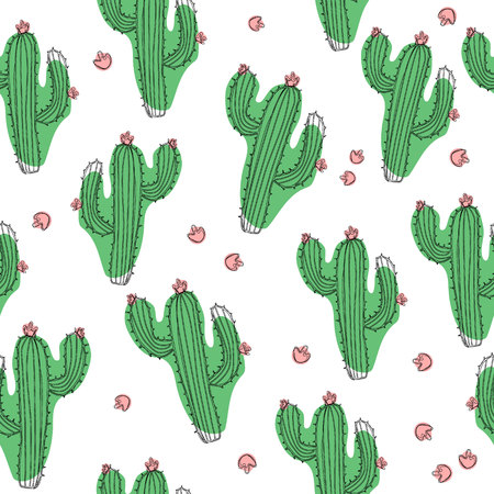 Hand draw vector cactus seamless pattern on isolated white background. Ð¡ontinuous line drawing.