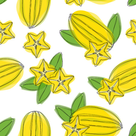 Seamless pattern with sliced carambola fruit. Stylized colorful star fruit. Hand draw illustration.