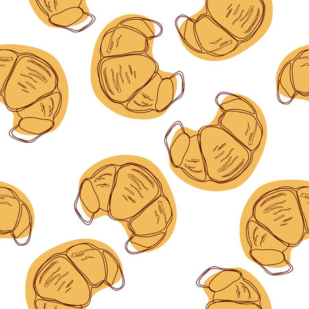 Traditional French croissant seamless pattern.