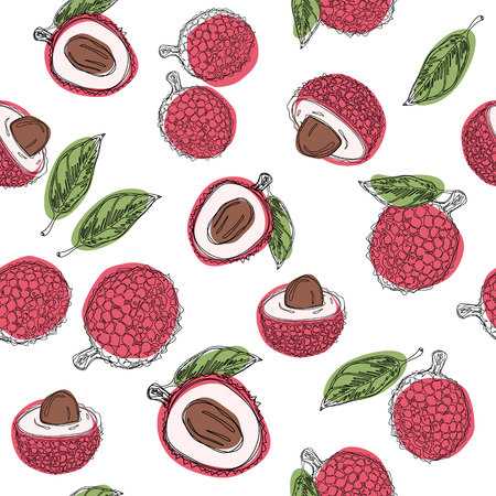 Lychee fruit hand draw graphic color seamless pattern. Continuous line hand drawn illustration. Banque d'images - 104497503