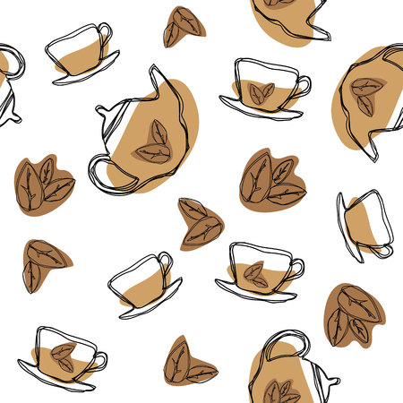 Black tea leaf, teapots and cups seamless pattern. Hand drawing vintage texture.