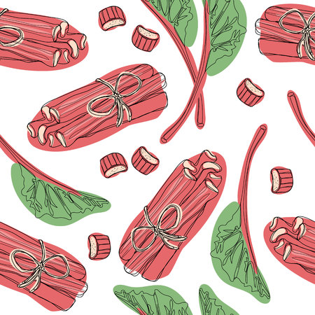Hand drawn rhubarb pattern. leaves, bunches cut and whole with strawberries composition. Good for backdrop, textile, wrapping paper, wall posters. Continuous line drawing.