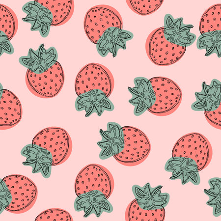 Strawberry pattern, fruit illustration on pink background, Good for wallpaper.