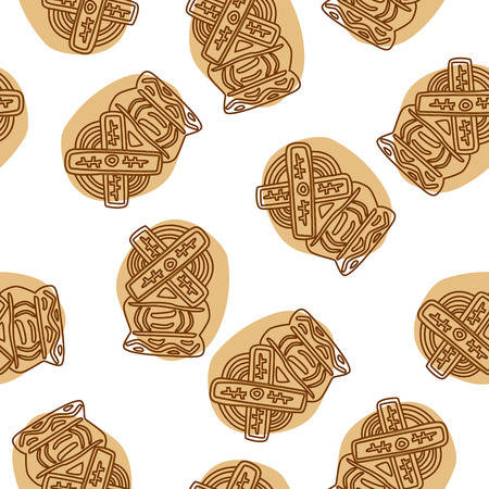 Crunchy spekulatius biscuits seamless pattern on white background.