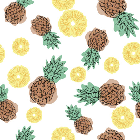 Pineapple seamless pattern on a white background. Design for textiles, banners, posters. Continuing line drawing.