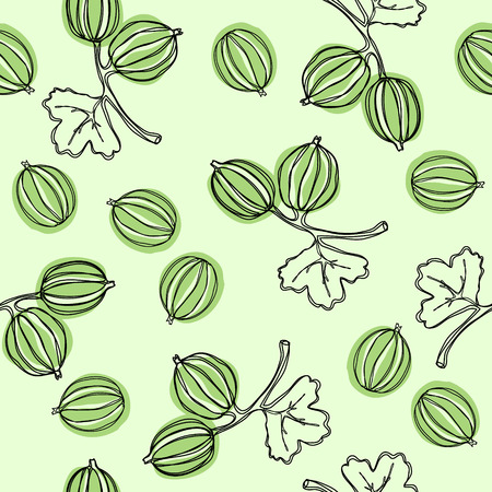 Seamless pattern with gooseberry. Fruit illustration. Indian gooseberry Malacca tree. Edible fruit. Good for backdrop, textile, wrapping paper, wall posters. Continuous line drawing.