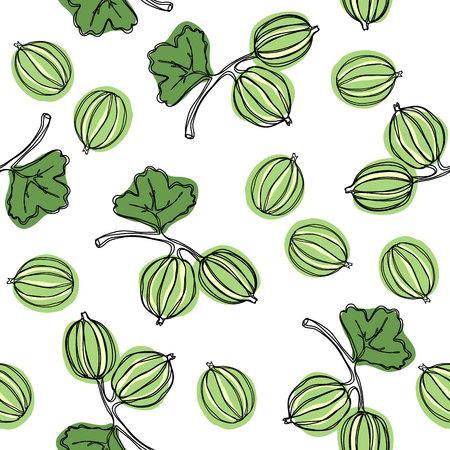 Nahtloses Muster mit Stachelbeere. Frucht-Abbildung. Indische Stachelbeere Malakka-Baum. Essbare Früchte. Gut für Hintergrund, Textilien, Geschenkpapier, Wandplakate. Kontinuierliche Strichzeichnung.