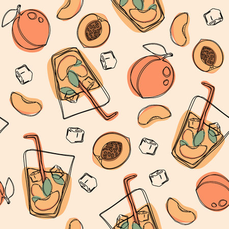 Peach tea or cocktail seamless pattern. Hand drawn illustration on isolated white background.