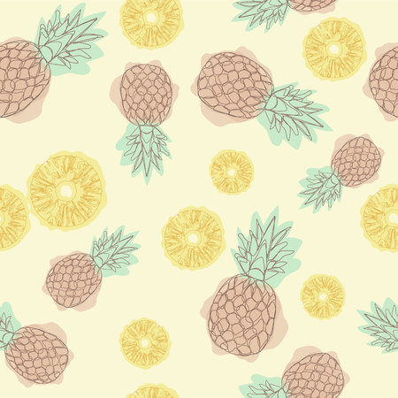 Cartoon pineapple seamless pattern. Continuing line drawing. Seamless textile illustration. Design for greeting card and invitation of seasonal summer holiday