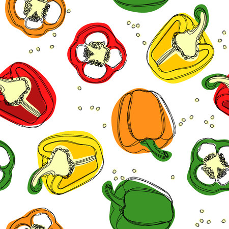 Seamless of red, yellow and green peppers. Hand drawing of bulgarian sweet peppers, paprika, peppercorns.