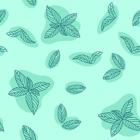 Mint leaves hand drawn vector seamless pattern. Peppermint, spicy herbs, kitchen texture, Doodle cooking ingredient for design package tea, wallpaper, cosmetics, textile, natural organ 일러스트