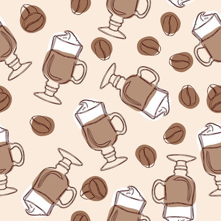 Hand draw vector seamless background with cups of latte and coffee beans 일러스트