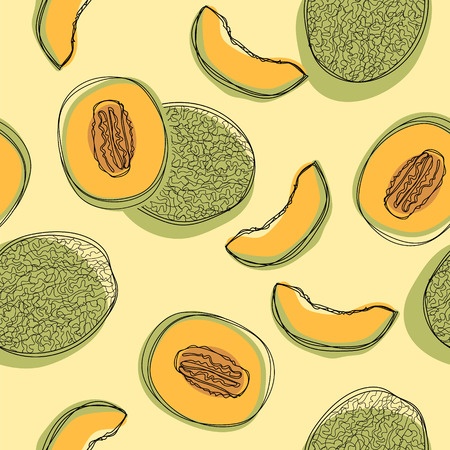 Seamless pattern with sliced japanese melons, orange melon or cantaloupe melon. Vector illustration
