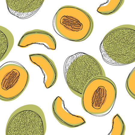 Seamless pattern with sliced japanese melons, orange melon or cantaloupe melon isolated on white background. Vector illustration 일러스트